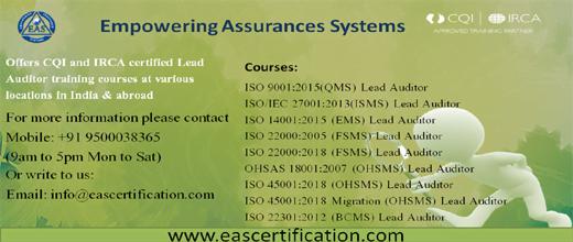 ISO Lead Auditor Training Scheme